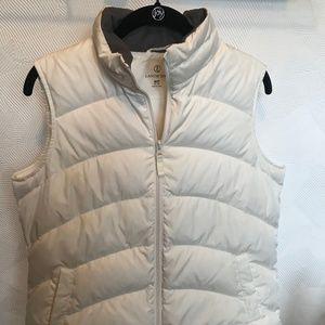 Lands' End White Puffer Vest - Medium Petite